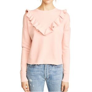 Free People Ooh La La Ruffle Sweatshirt Peach
